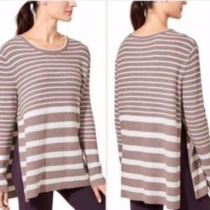 Athleta Brown & White Striped Slit Side Sweater